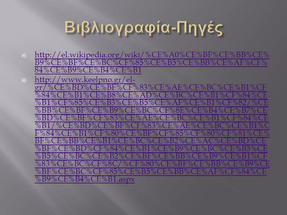 Βιβλιογραφία-Πηγές http://el.wikipedia.org/wiki/%CE%A0%CE%BF%CE%BB%CE%B9%CE%BF%CE%BC%CF%85%CE%B5%CE%BB%CE%AF%CF%84%CE%B9%CE%B4%CE%B1.
