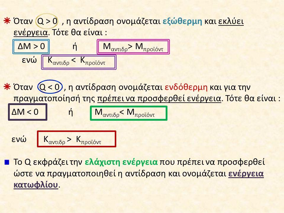 Όταν Q > 0 , η αντίδραση ονομάζεται εξώθερμη και εκλύει ενέργεια