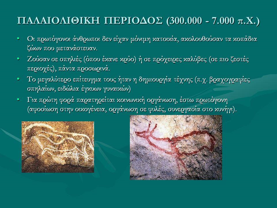 ΠΑΛΑΙΟΛΙΘΙΚΗ ΠΕΡΙΟΔΟΣ (300.000 - 7.000 π.Χ.)