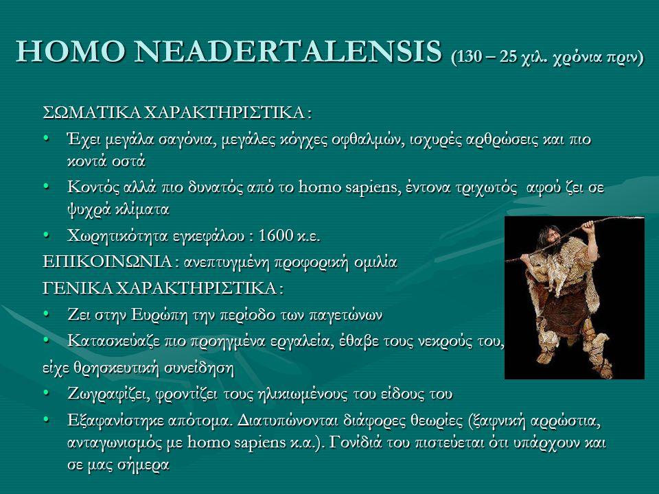 HOMO NEADERTALENSIS (130 – 25 χιλ. χρόνια πριν)