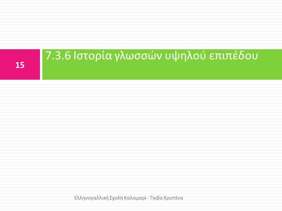 7.3.6 Ιστορία γλωσσών υψηλού επιπέδου
