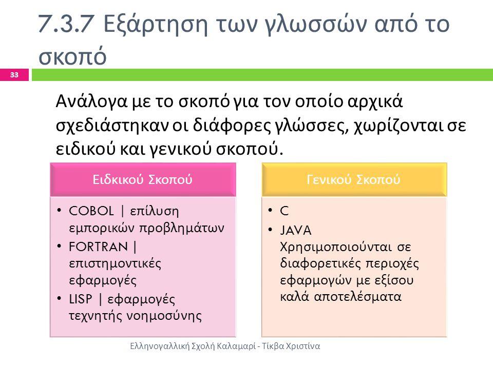 7.3.7 Εξάρτηση των γλωσσών από το σκοπό