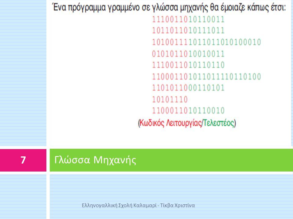 Γλώσσα Μηχανής Ελληνογαλλική Σχολή Καλαμαρί - Τίκβα Χριστίνα