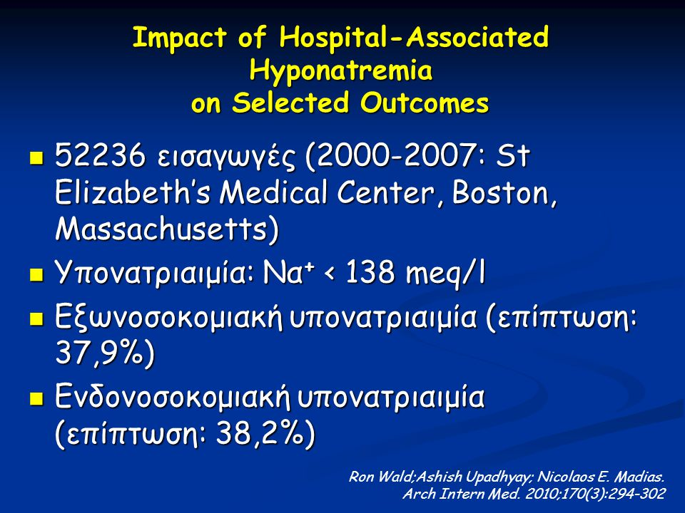 Impact of Hospital-Associated Hyponatremia on Selected Outcomes
