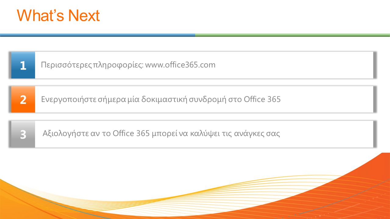 What's Next 1 2 3 Περισσότερες πληροφορίες: www.office365.com