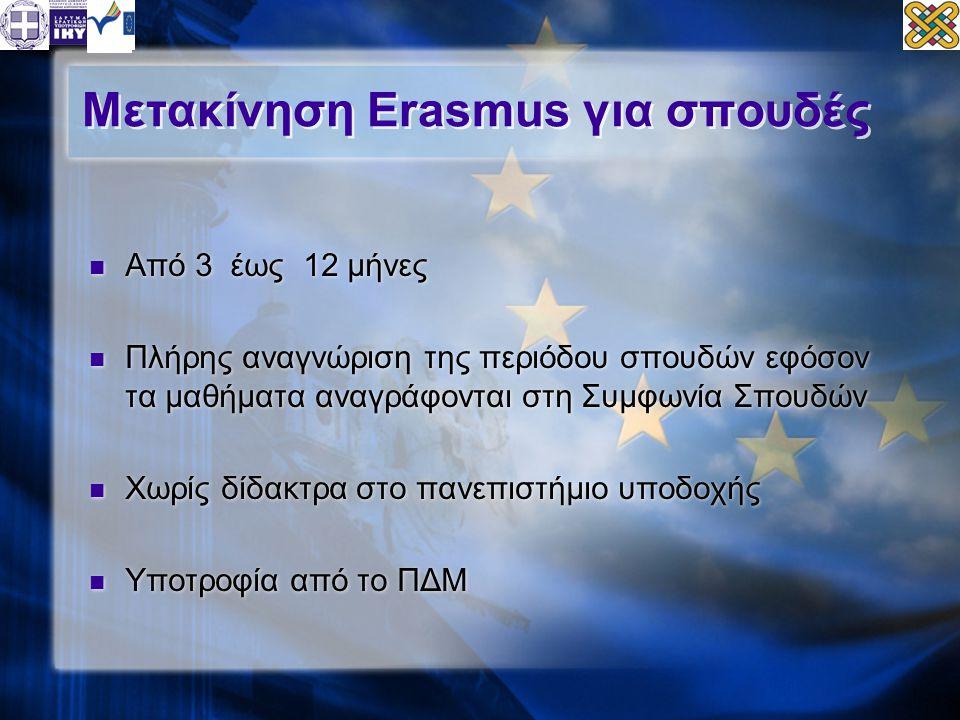 Μετακίνηση Erasmus για σπουδές