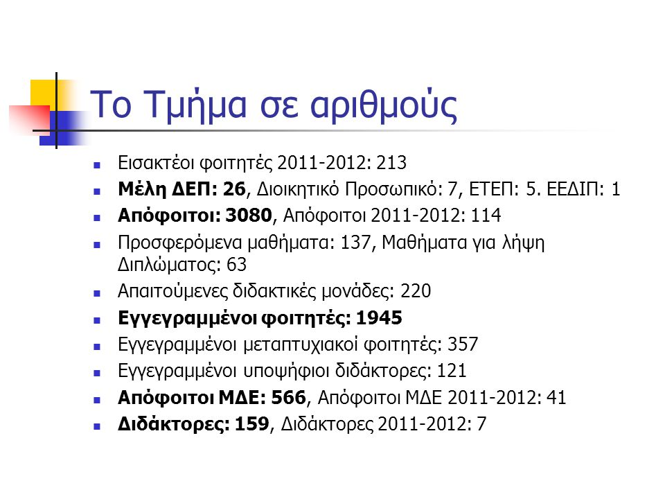 Το Τμήμα σε αριθμούς Εισακτέοι φοιτητές 2011-2012: 213