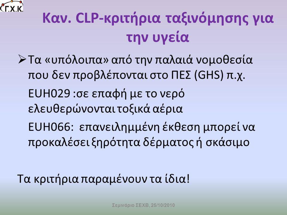Καν. CLP-κριτήρια ταξινόμησης για την υγεία
