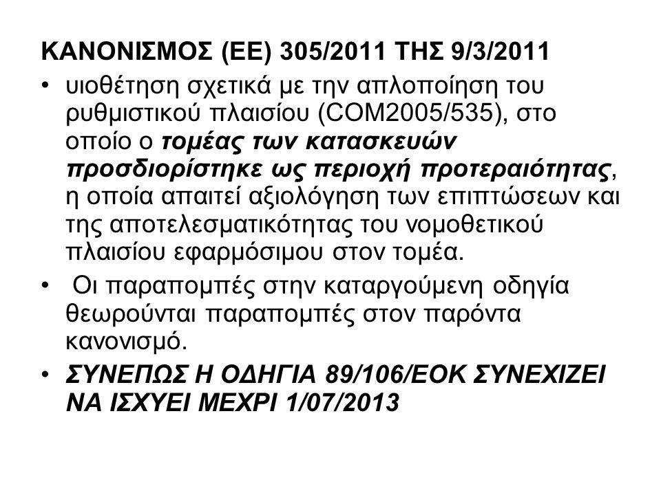 ΚΑΝΟΝΙΣΜΟΣ (ΕΕ) 305/2011 ΤΗΣ 9/3/2011