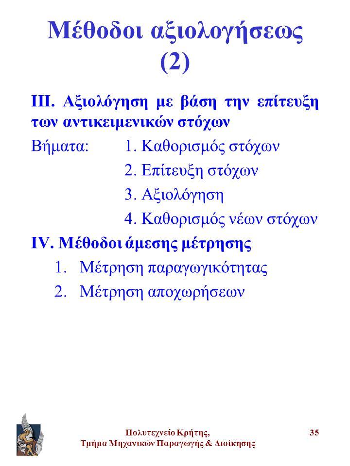 Μέθοδοι αξιολογήσεως (2)