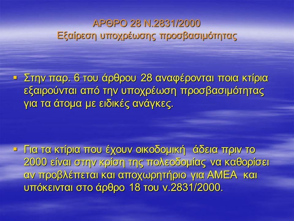 ΑΡΘΡΟ 28 Ν.2831/2000 Εξαίρεση υποχρέωσης προσβασιμότητας