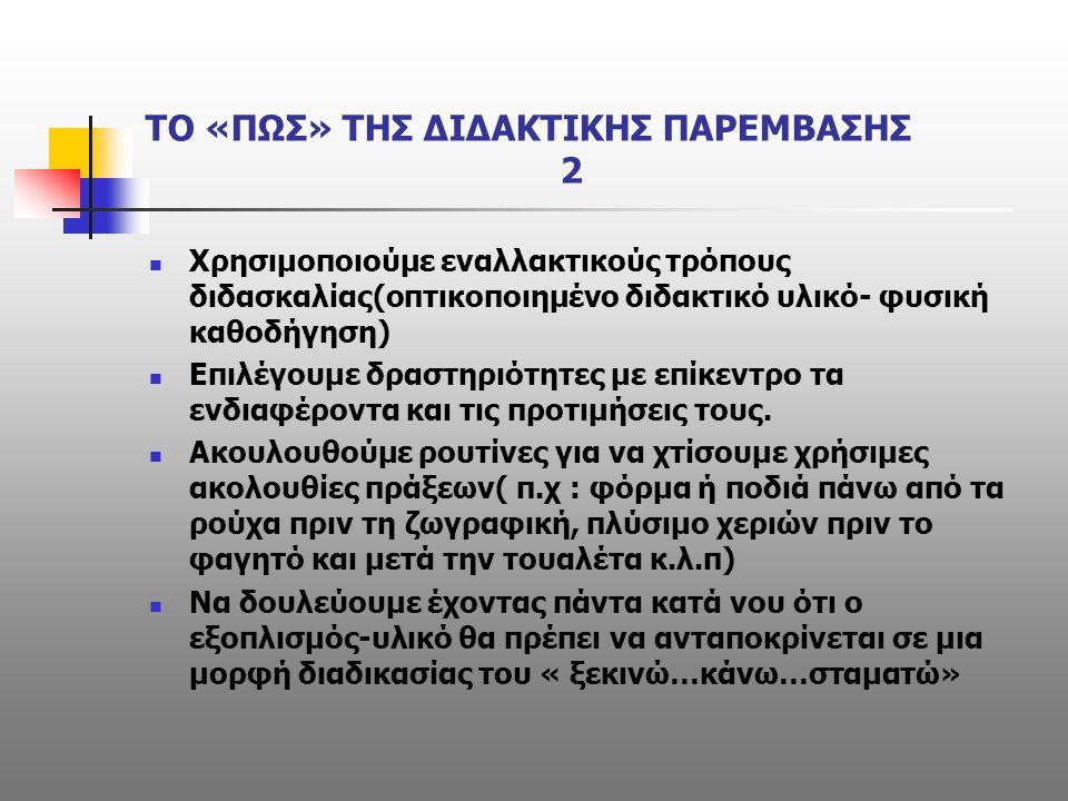 ΤΟ «ΠΩΣ» ΤΗΣ ΔΙΔΑΚΤΙΚΗΣ ΠΑΡΕΜΒΑΣΗΣ 2