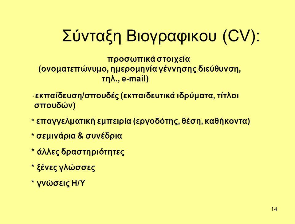 Σύνταξη Βιογραφικου (CV):