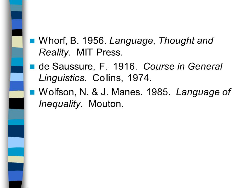 Whorf, B Language, Thought and Reality. MIT Press.