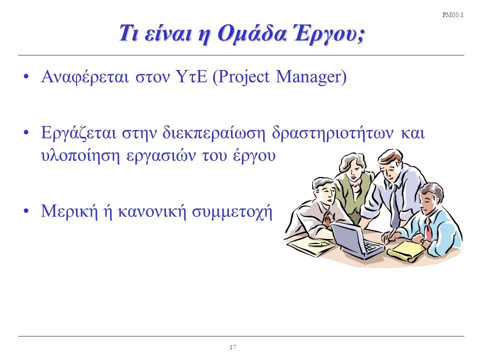 Τι είναι η Ομάδα Έργου; Αναφέρεται στον ΥτΕ (Project Manager)