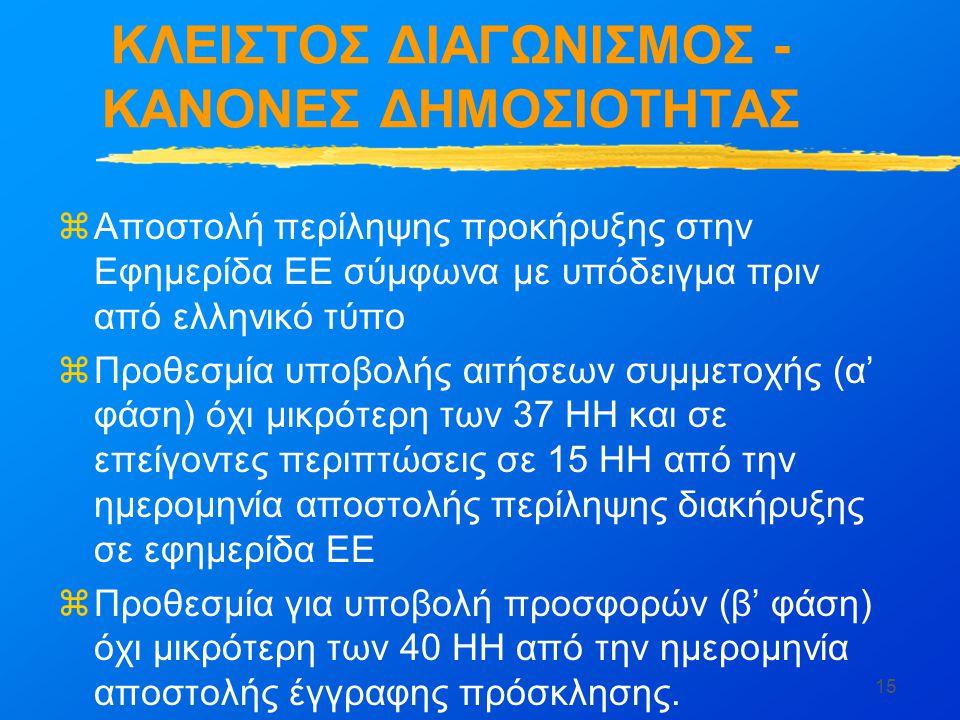 ΚΛΕΙΣΤΟΣ ΔΙΑΓΩΝΙΣΜΟΣ - ΚΑΝΟΝΕΣ ΔΗΜΟΣΙΟΤΗΤΑΣ