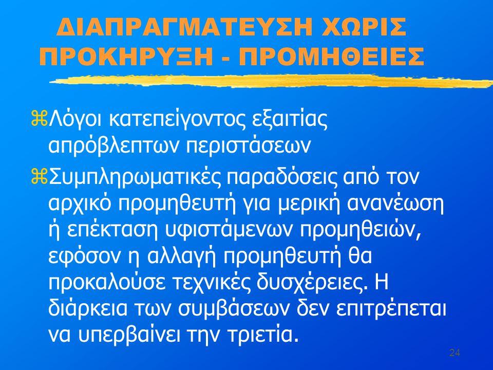 ΔΙΑΠΡΑΓΜΑΤΕΥΣΗ ΧΩΡΙΣ ΠΡΟΚΗΡΥΞΗ - ΠΡΟΜΗΘΕΙΕΣ