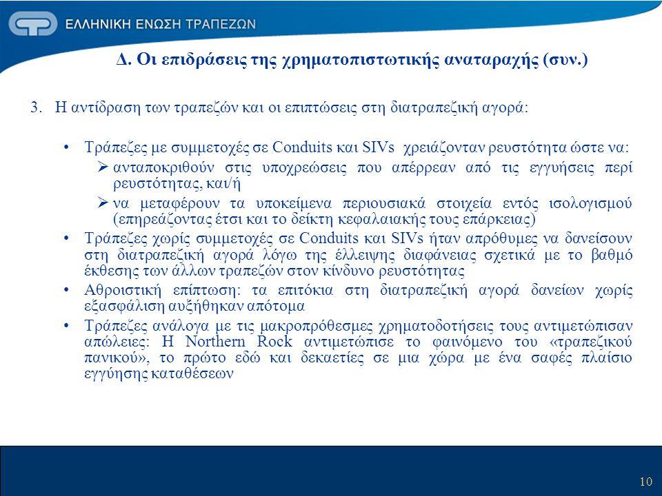Δ. Οι επιδράσεις της χρηματοπιστωτικής αναταραχής (συν.)