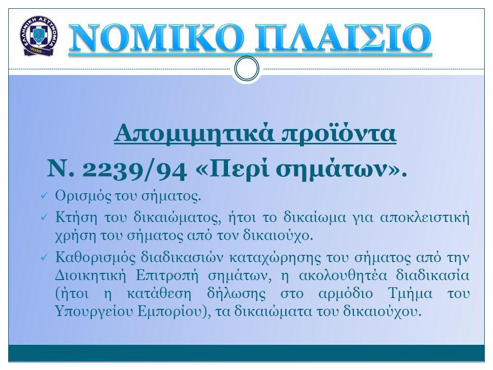 ΝΟΜΙΚΟ ΠΛΑΙΣΙΟ Απομιμητικά προϊόντα Ν. 2239/94 «Περί σημάτων».