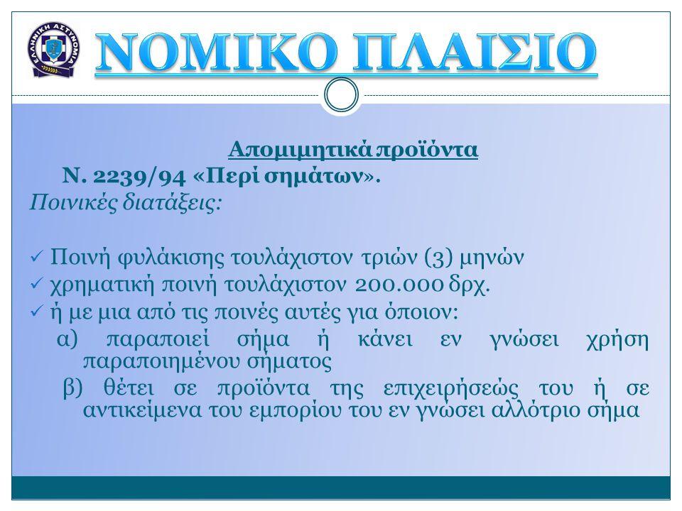 ΝΟΜΙΚΟ ΠΛΑΙΣΙΟ Ποινικές διατάξεις: