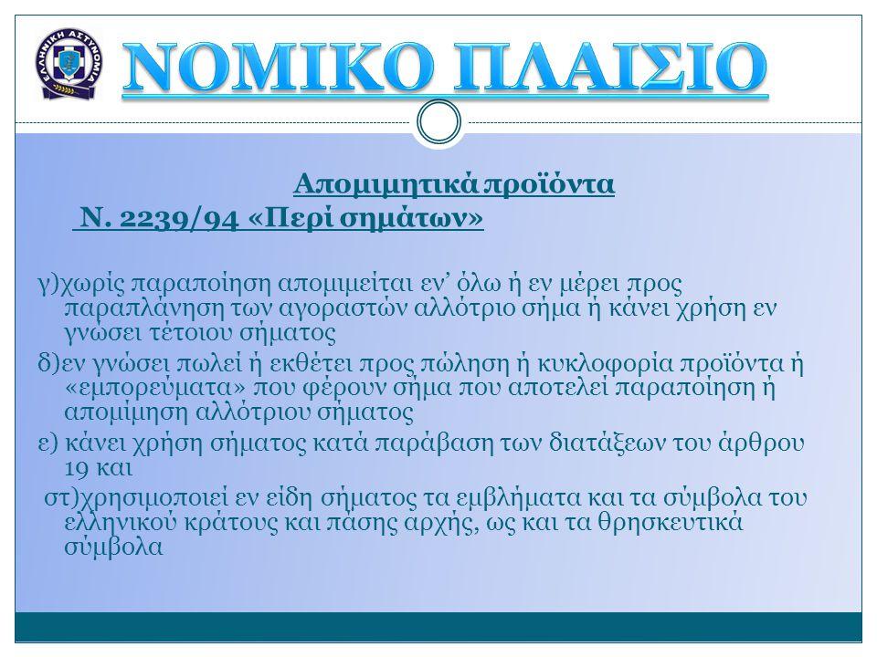 ΝΟΜΙΚΟ ΠΛΑΙΣΙΟ Απομιμητικά προϊόντα Ν. 2239/94 «Περί σημάτων»