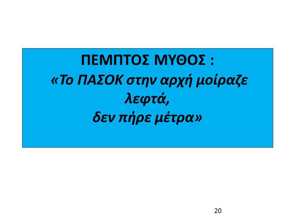 ΠΕΜΠΤΟΣ ΜΥΘΟΣ : «Το ΠΑΣΟΚ στην αρχή μοίραζε λεφτά, δεν πήρε μέτρα»
