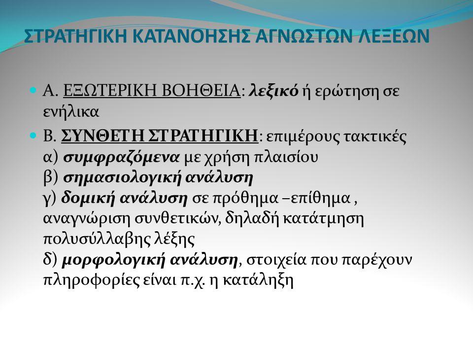 ΣΤΡΑΤΗΓΙΚΗ ΚΑΤΑΝΟΗΣΗΣ ΑΓΝΩΣΤΩΝ ΛΕΞΕΩΝ