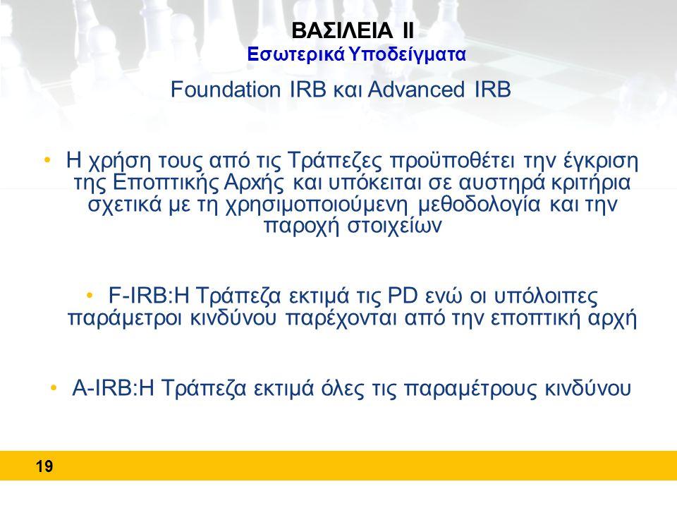 Foundation IRB και Advanced IRB