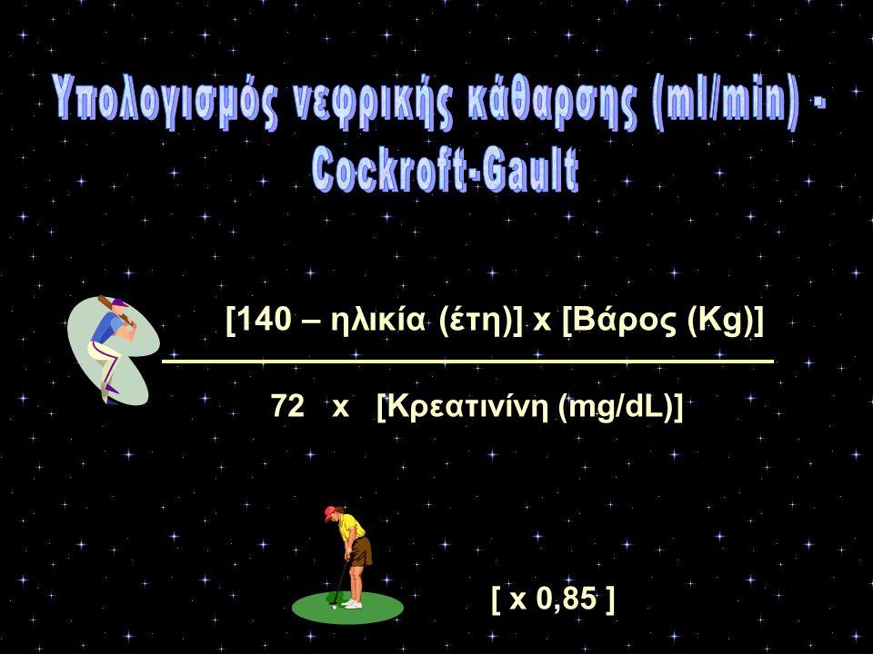 Υπολογισμός νεφρικής κάθαρσης (ml/min) -