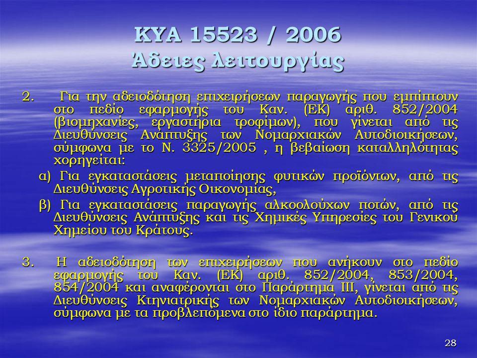 ΚΥΑ 15523 / 2006 Άδειες λειτουργίας
