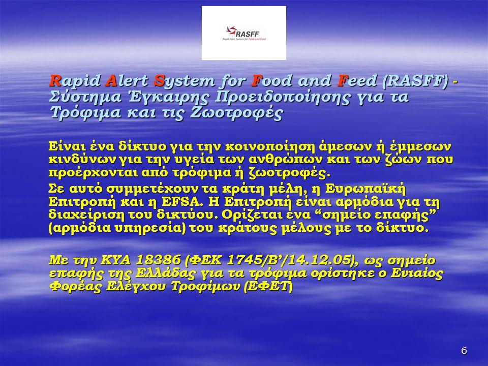 Rapid Alert System for Food and Feed (RASFF) - Σύστημα Έγκαιρης Προειδοποίησης για τα Τρόφιμα και τις Ζωοτροφές