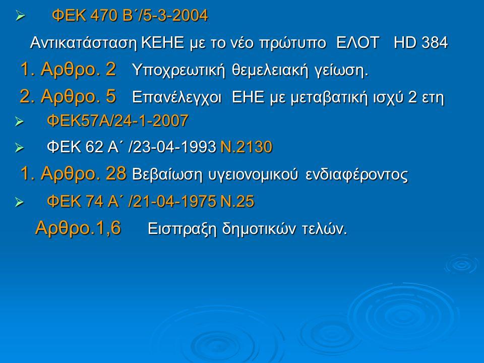 Αντικατάσταση ΚΕΗΕ με το νέο πρώτυπο ΕΛΟΤ HD 384