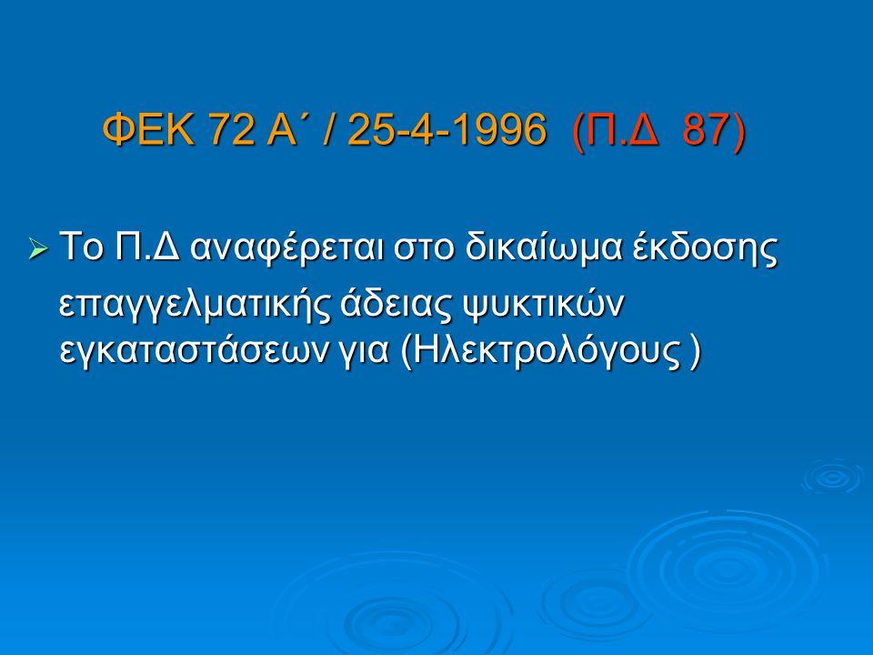 ΦΕΚ 72 Α΄ / 25-4-1996 (Π.Δ 87) Το Π.Δ αναφέρεται στο δικαίωμα έκδοσης