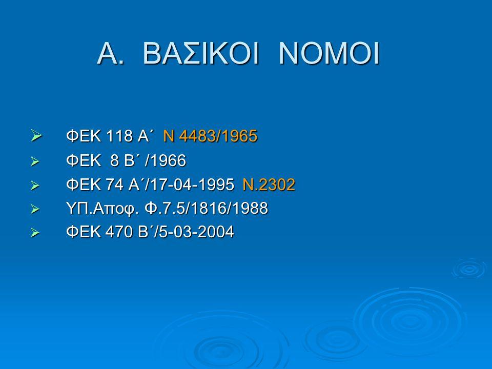 Α. ΒΑΣΙΚΟΙ ΝΟΜΟΙ ΦΕΚ 118 Α΄ Ν 4483/1965 ΦΕΚ 8 Β΄ /1966