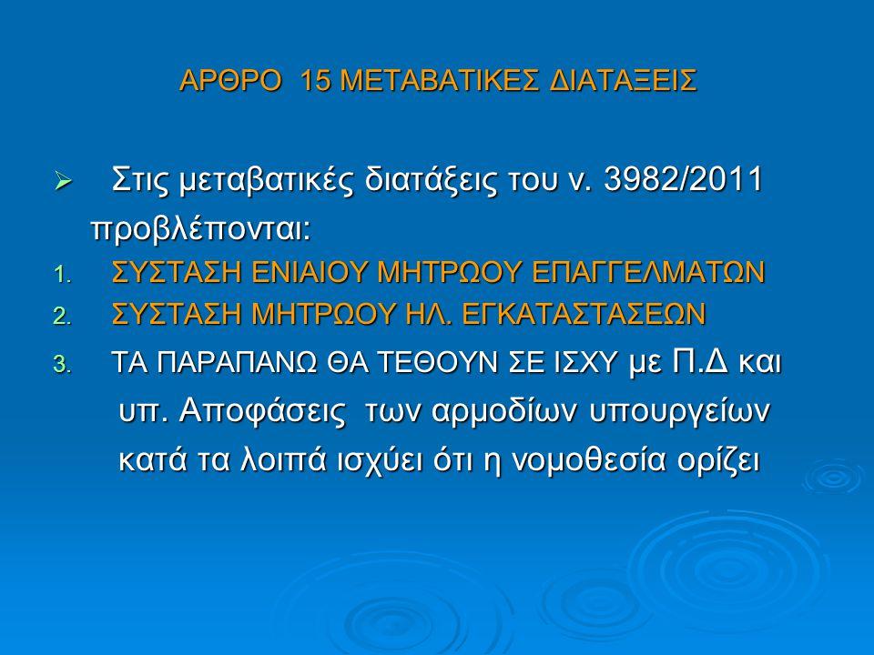 ΑΡΘΡΟ 15 ΜΕΤΑΒΑΤΙΚΕΣ ΔΙΑΤΑΞΕΙΣ