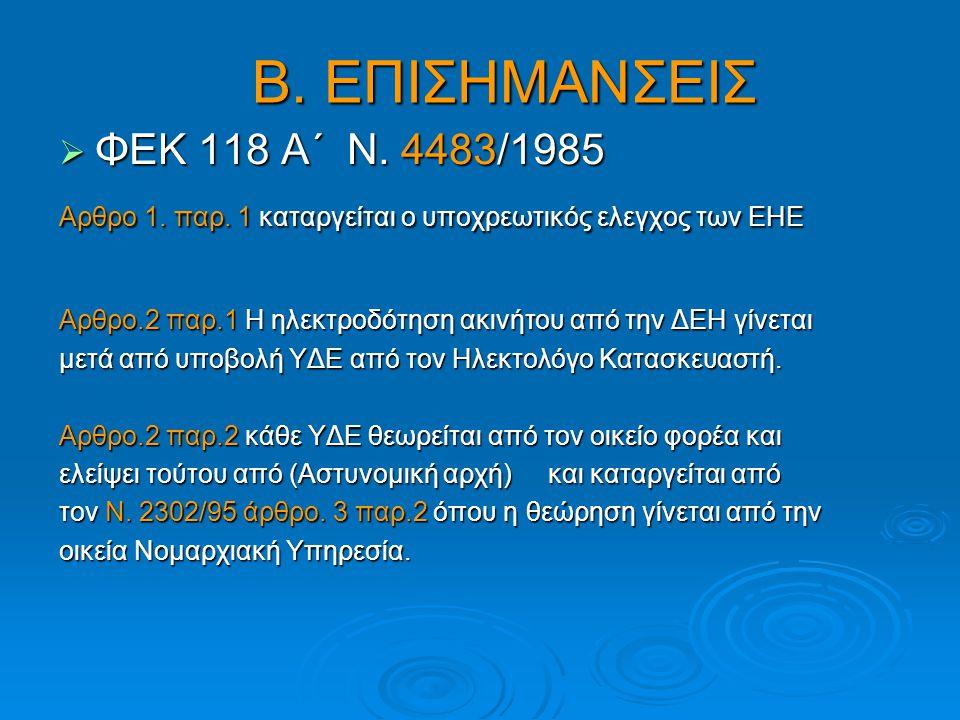 Β. ΕΠΙΣΗΜΑΝΣΕΙΣ ΦΕΚ 118 Α΄ Ν. 4483/1985