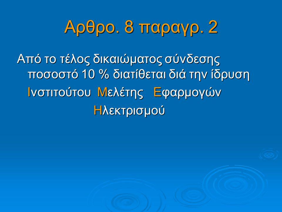 Αρθρο. 8 παραγρ. 2 Από το τέλος δικαιώματος σύνδεσης ποσοστό 10 % διατίθεται διά την ίδρυση. Ινστιτούτου Μελέτης Εφαρμογών.