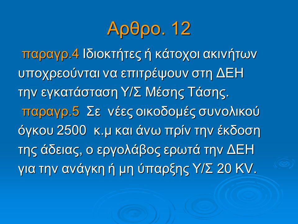 Αρθρο. 12 παραγρ.4 Ιδιοκτήτες ή κάτοχοι ακινήτων