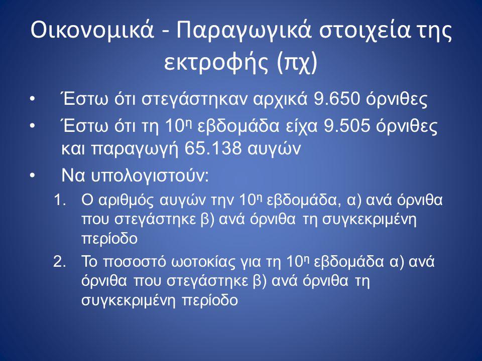 Οικονομικά - Παραγωγικά στοιχεία της εκτροφής (πχ)