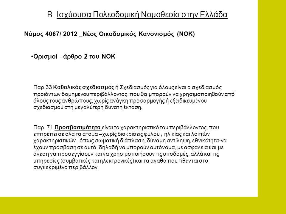 Β. Ισχύουσα Πολεοδομική Νομοθεσία στην Ελλάδα