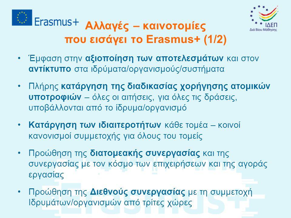 Αλλαγές – καινοτομίες που εισάγει το Erasmus+ (1/2)
