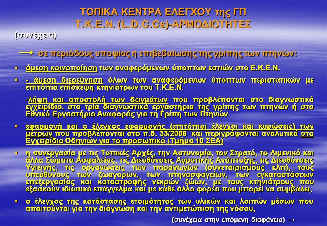 ΤΟΠΙΚΑ ΚΕΝΤΡΑ ΕΛΕΓΧΟΥ της ΓΠ Τ.Κ.Ε.Ν. (L.D.C.Cs)-ΑΡΜΟΔΙΟΤΗΤΕΣ