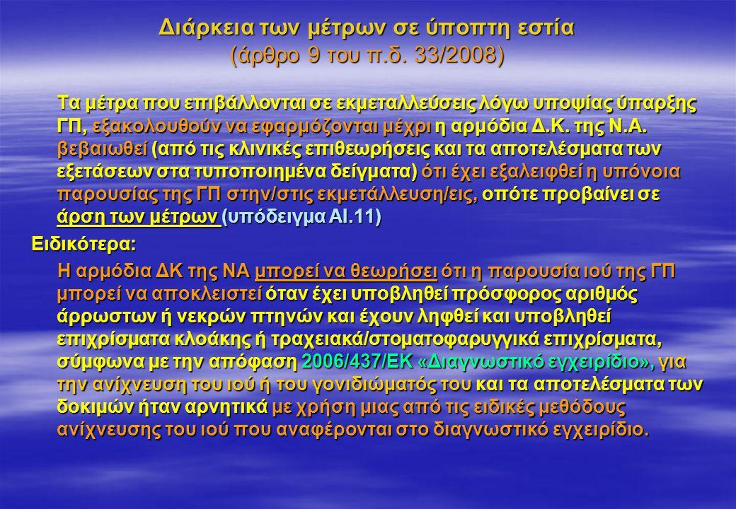 Διάρκεια των μέτρων σε ύποπτη εστία (άρθρο 9 του π.δ. 33/2008)