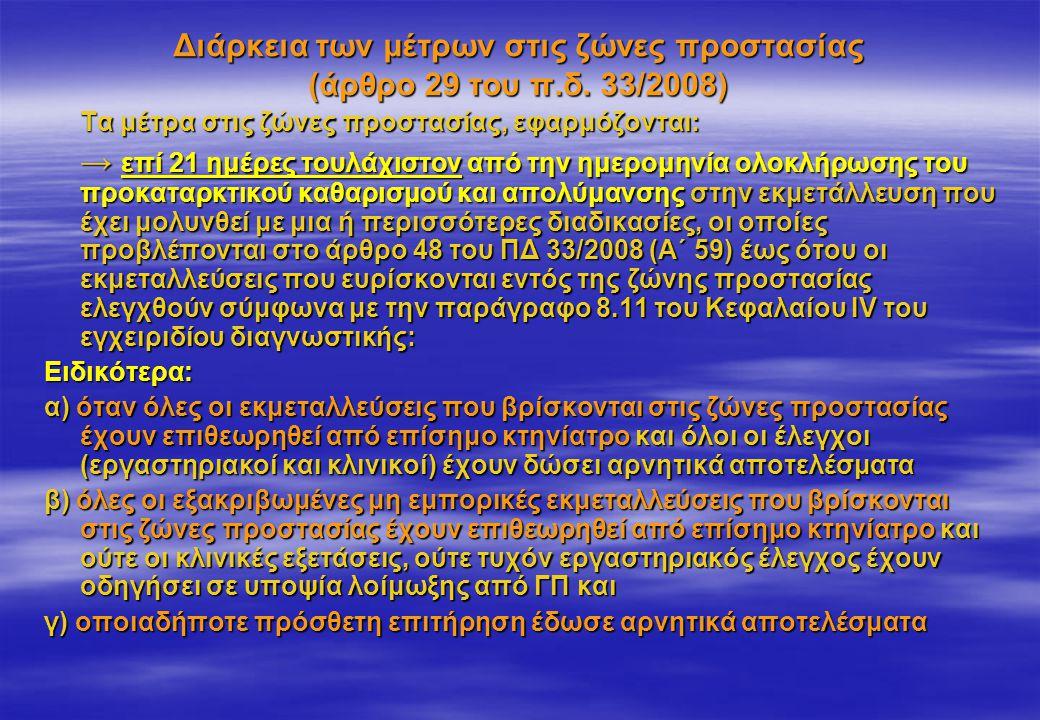 Διάρκεια των μέτρων στις ζώνες προστασίας (άρθρο 29 του π.δ. 33/2008)