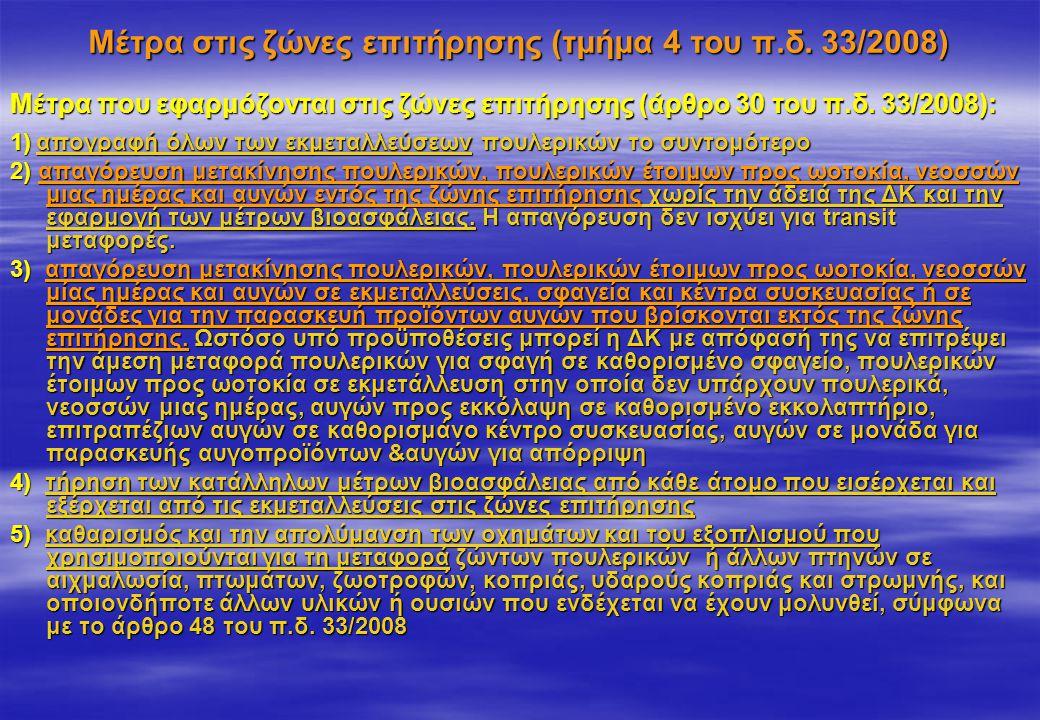 Μέτρα στις ζώνες επιτήρησης (τμήμα 4 του π.δ. 33/2008)