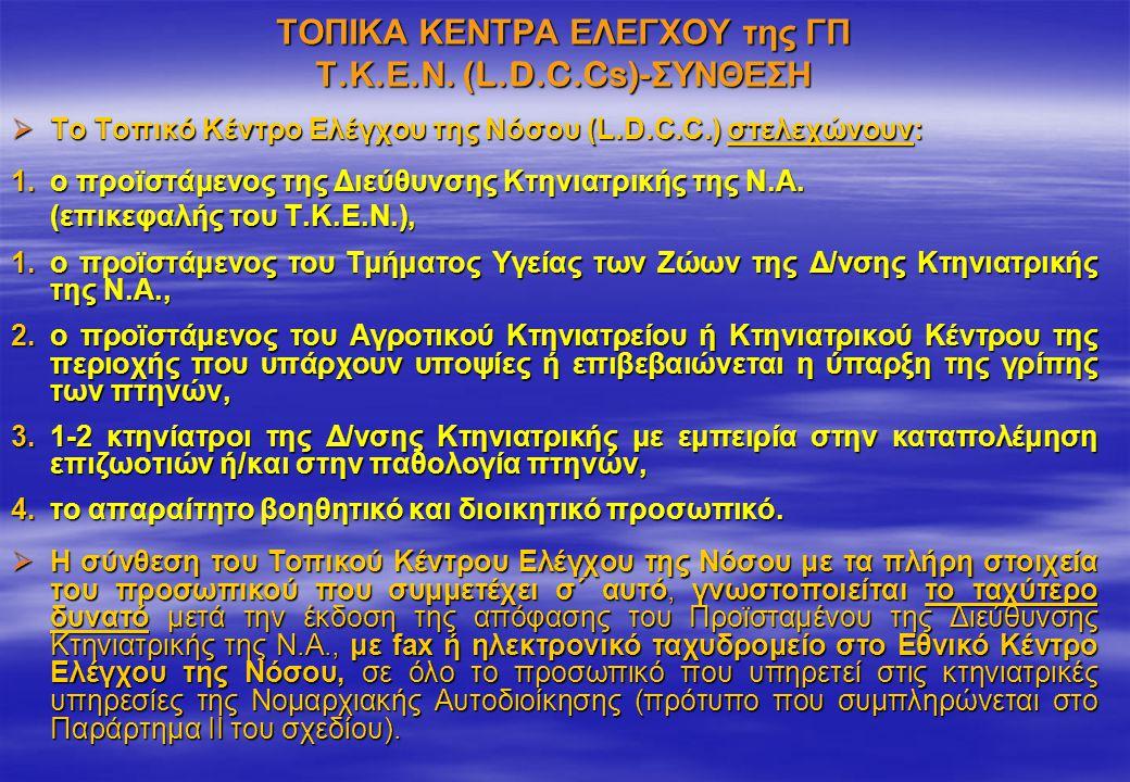 ΤΟΠΙΚΑ ΚΕΝΤΡΑ ΕΛΕΓΧΟΥ της ΓΠ Τ.Κ.Ε.Ν. (L.D.C.Cs)-ΣΥΝΘΕΣΗ