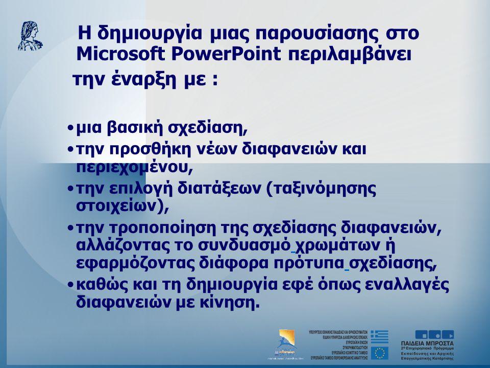 Η δημιουργία μιας παρουσίασης στο Microsoft PowerPoint περιλαμβάνει