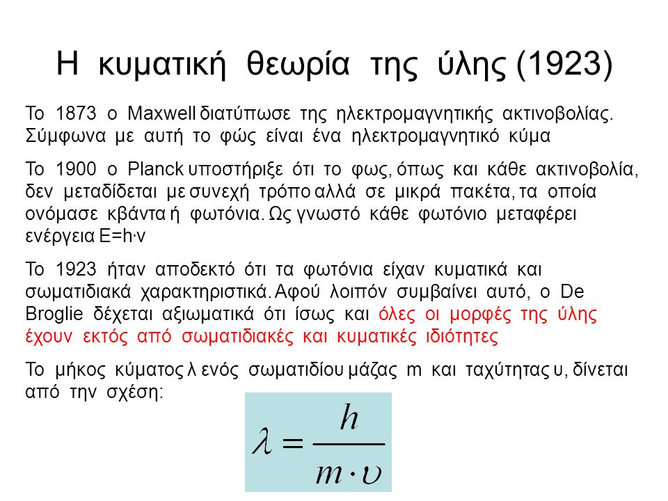 Η κυματική θεωρία της ύλης (1923)