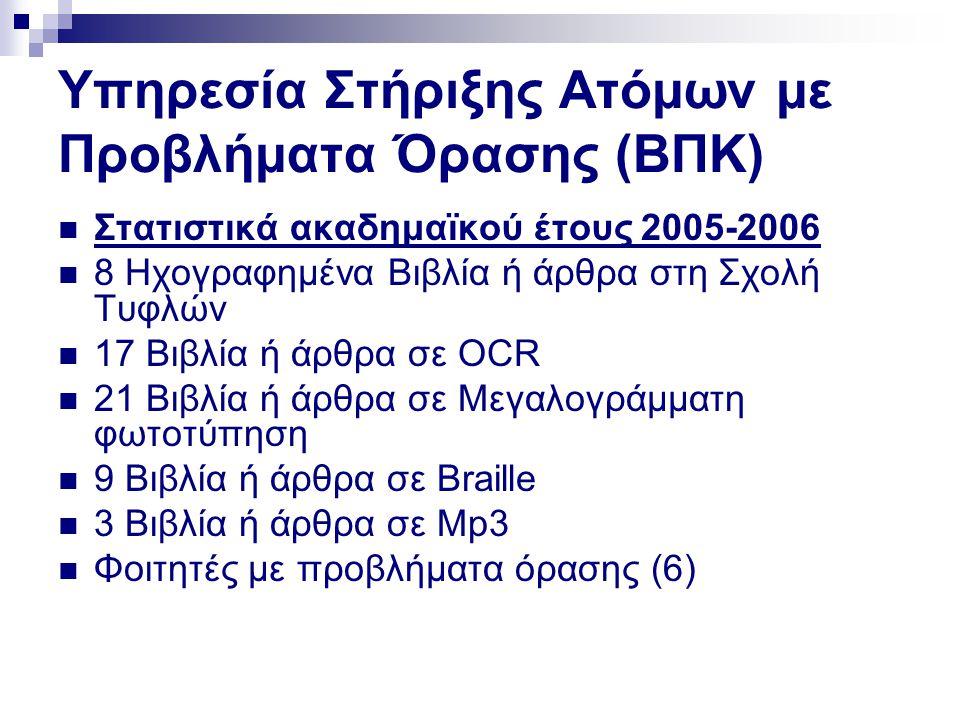 Υπηρεσία Στήριξης Ατόμων με Προβλήματα Όρασης (ΒΠΚ)