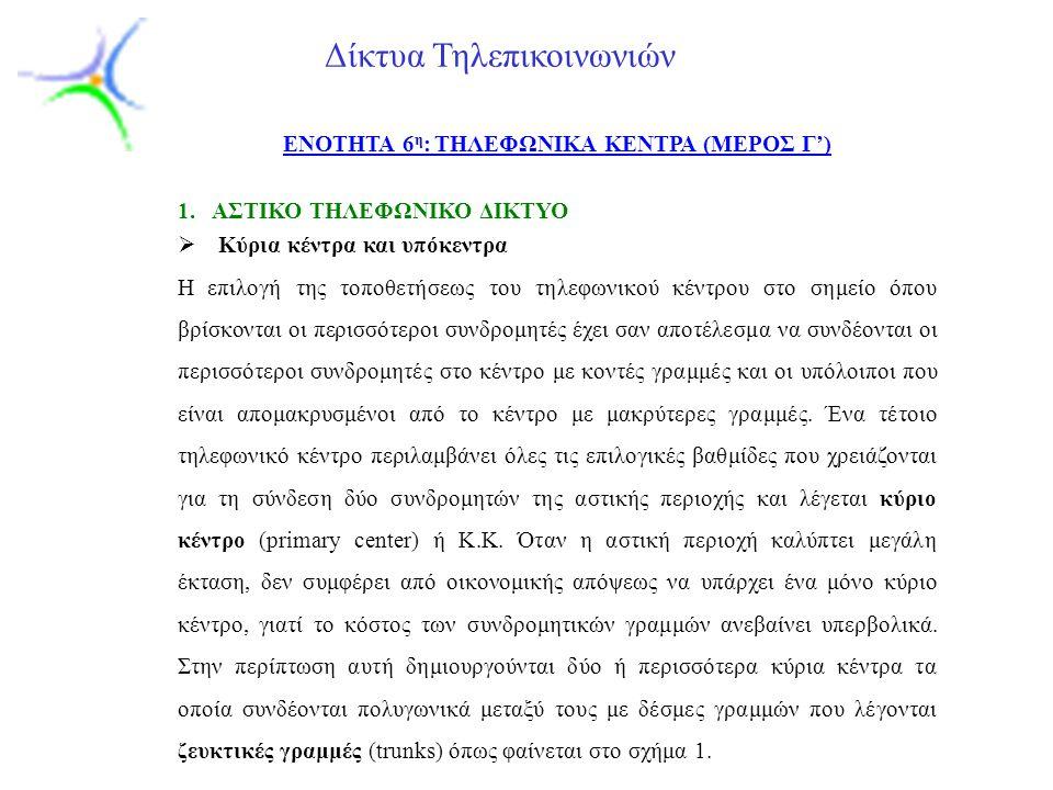 ENOTHTA 6η: ΤΗΛΕΦΩΝΙΚΑ ΚΕΝΤΡΑ (ΜΕΡΟΣ Γ')